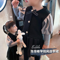 Dress female Other / other 90cm,100cm,110cm,120cm,130cm Cotton 86% pet 14% winter Korean version Long sleeves Solid color cotton A-line skirt Class B 18 months, 2 years old, 3 years old, 4 years old, 5 years old, 6 years old, 7 years old, 8 years old Chinese Mainland