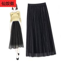 skirt Autumn 2020 Average size Black, Navy, apricot, medium gray, golden brown, turquoise, note Mid length dress commute High waist Pleated skirt Solid color Type A 25-29 years old More than 95% fold