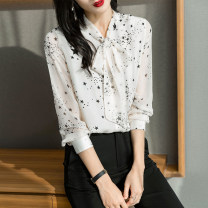 shirt white Spring 2021 polyester fiber 96% and above Long sleeves commute Regular V-neck Frenulum routine other 25-29 years old Straight cylinder printing Polyester 100% Pure e-commerce (online only)