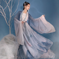 Hanfu 96% and above Winter 2020 Suspender, cardigan, cross collar shirt, big sleeve shirt, 4.2m waist pleated skirt polyester fiber