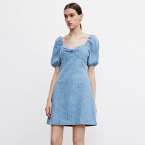 Dress Spring 2021 blue S,M,L commute square neck Solid color 25-29 years old printing F113 - UWH12 More than 95% other