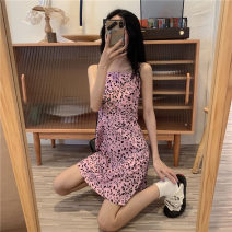 Women's large Spring 2021 Pink S M L XL 2XL Dress singleton  commute easy moderate Broken flowers Korean version other printing and dyeing 18-24 years old Medium length Other 100% Pure e-commerce (online only)