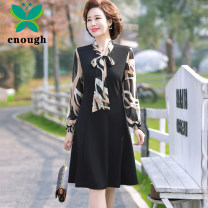 Middle aged and old women's wear Spring 2021 black XL recommendation 95-110 kg XXL recommendation 110-125 kg 3XL recommendation 125-135 kg 4XL recommendation 135-145 kg 5XL recommendation 145-160 kg fashion easy singleton  Solid color 40-49 years old Socket moderate V-neck Medium length routine