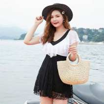 one piece  Bo Mengsi XXL,XXXL,4XL,5XL,6XL,7XL black No chest pad female Short sleeve Casual swimsuit