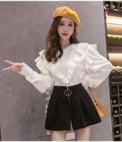 Casual pants black S,M,L,XL Winter of 2019 shorts Wide leg pants High waist commute routine 96% and above Other / other other Korean version zipper