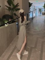 Women's large Autumn 2020 Grey suspender skirt + grey coat, no reason to return or exchange in seven days S,M,L,XL,XXL Other oversize styles Two piece set commute Socket Long sleeves Korean version One word collar routine SMQ22694 Su Mengqing 18-24 years old Short skirt