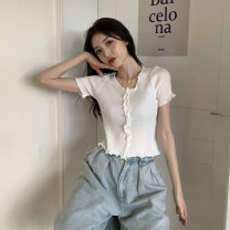 T-shirt Summer 2021 Short sleeve V-neck Self cultivation have cash less than that is registered in the accounts Lotus leaf sleeve commute other 96% and above Korean version classic Solid color Qiaozitong 0705123 Auricularia auricula Other 100% Pure e-commerce (online sales only) S M L XL