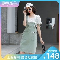 Dress Summer 2021 Red strap skirt Khaki strap skirt bean green strap skirt red two piece set Khaki two piece set bean green two piece set S M L XL XXL Mid length dress Two piece set Short sleeve commute Crew neck High waist Solid color Socket other routine straps 25-29 years old Type H LAN nu Retro