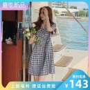 Dress Summer 2021 Blue lattice S M L Short skirt singleton  Short sleeve commute tailored collar High waist lattice Socket A-line skirt routine Others 25-29 years old Type A LAN nu lady na-1700-Q570 More than 95% polyester fiber Polyester 100% Pure e-commerce (online only)