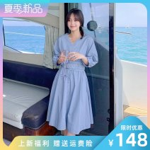 Dress Summer 2021 Blue yellow S M L Mid length dress singleton  Long sleeves commute V-neck High waist Solid color Socket Big swing routine Others 25-29 years old LAN nu lady na-3046-1009 More than 95% cotton Cotton 100% Pure e-commerce (online only)