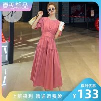 Dress Summer 2021 Raspberry red Avocado Green S M L XL Mid length dress singleton  Short sleeve commute Crew neck High waist Solid color Socket Big swing puff sleeve Others 25-29 years old Type A LAN nu lady Pleated lacing na-3046-0069 More than 95% polyester fiber Polyester 100%