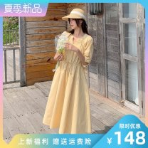 Dress Summer 2021 yellow S M L Mid length dress singleton  elbow sleeve commute V-neck High waist Solid color Socket Big swing routine Others 25-29 years old Type A LAN nu lady na-3046-1015 More than 95% polyester fiber Polyester 100% Pure e-commerce (online only)