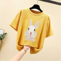 Women's large Summer 2020 M L XL 2XL 3XL 4XL T-shirt singleton  commute easy moderate Socket Short sleeve Cartoon animation Simplicity Crew neck routine cotton printing and dyeing routine Dacaimei 25-29 years old tie-dyed Cotton 100%