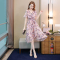 Dress Summer 2020 Foundation color S M L XL XXL Mid length dress singleton  Short sleeve Sweet V-neck middle-waisted Decor Socket Irregular skirt Lotus leaf sleeve Others 35-39 years old Type X RESSCOTTI Ruffle printing S02B2339L More than 95% polyester fiber Polyester 100% college
