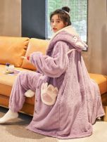 Pajamas / housewear set female Other / other M,L,XL,XXL wool Long sleeves Cartoon pajamas winter thickening Hood trousers Front buckle youth 2 pieces rubber string More than 95% Flannel 320g