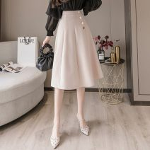 skirt Spring 2021 S,M,L,XL,2XL Black - 171, apricot - fyl, collect and purchase first Mid length dress High waist A-line skirt Rivet, ruffle, solid