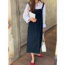 Dress Summer 2021 navy blue Average size Mid length dress singleton  Sleeveless commute Crew neck Loose waist Solid color other Irregular skirt routine straps 18-24 years old Type H Itfi (clothing) Simplicity More than 95% Denim cotton Cotton 100% Same model in shopping mall (sold online and offline)