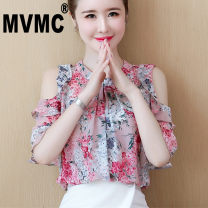 Lace / Chiffon Summer 2020 Pink Navy S M L XL 2XL Short sleeve commute Socket singleton  Self cultivation Regular stand collar Decor routine 25-29 years old MVMC Korean version Other 100% Pure e-commerce (online only)