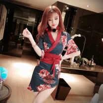 Pajamas / housewear set male Ezrin S,M,L White, black wool V-neck Socket Middle-skirt