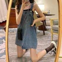 Dress Summer 2020 Denim blue Average size Short skirt singleton  Sleeveless commute square neck Loose waist Solid color Socket other other straps 18-24 years old Ezrin Retro pocket 7niHM