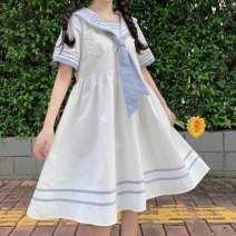 Dress Summer 2020 White, blue Average size Middle-skirt singleton  Short sleeve Sweet Admiral High waist Socket A-line skirt routine 18-24 years old Type A Ezrin Mog0F solar system