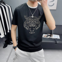 T-shirt Fashion City White, black, blue thin M L XL 2XL 3XL 4XL Mori Yan Short sleeve Crew neck Self cultivation daily summer H02057 Polyester 51.2% cotton 48.8% youth routine Simplicity in Europe and America Spring 2020 Animal design Flocking printing cotton 3D effect No iron treatment