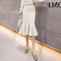 skirt Spring 2021 One size fits all Apricot, grey, black longuette commute High waist skirt Solid color Type H 18-24 years old 51% (inclusive) - 70% (inclusive) knitting other Korean version