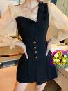 Dress Autumn 2020 Short skirt singleton  Long sleeves commute High waist Solid color Single breasted Irregular skirt puff sleeve 18-24 years old Korean version Button S,XL,2XL,L,M Black original