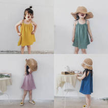 Dress Summer 2021 Green blue yellow purple red stripe pink flower yellow flower Leopard Print 80 90 100 110 120 130 Short skirt Short sleeve other Solid color A-line skirt routine 18-24 years old Beautiful clothes for a long time More than 95% other other Other 100%