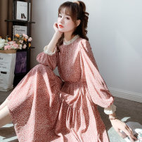 Dress Autumn 2020 Black tea green light green pink Average size Mid length dress singleton  Long sleeves commute Crew neck Loose waist other Socket Big swing other Others 18-24 years old Type H Miss Reese Korean version Lace with lace 20090101-1 More than 95% Chiffon other New polyester fiber 100%