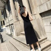 Dress Autumn of 2019 S M L Mid length dress singleton  Sleeveless Sweet V-neck High waist Solid color Socket Pleated skirt straps 18-24 years old LAN Caiyi Fold anticline More than 95% other Other 100% college Pure e-commerce (online only)