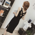 Dress Summer 2020 Black grey S M L Mid length dress singleton  Sleeveless commute V-neck High waist Solid color Socket One pace skirt other camisole 18-24 years old Type A LAN Caiyi Korean version Open back strap LCY072 More than 95% other Other 100% Pure e-commerce (online only)