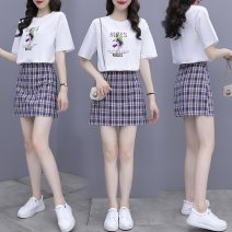Women's large Summer 2021 Picture color S M L XL 2XL Two piece set commute easy Short sleeve Crew neck routine Three dimensional cutting routine SDS2104048 Sotherson Short skirt Other 100%