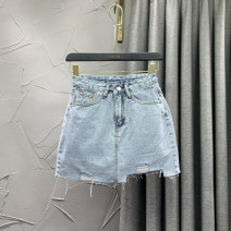 skirt Spring 2021 S M L XL Grey blue Short skirt commute High waist A-line skirt Solid color Type A 18-24 years old VIP1229-10986 71% (inclusive) - 80% (inclusive) Denim W.S.VIP cotton Pocket button with holes Korean version Cotton 80% other 20% Pure e-commerce (online only)