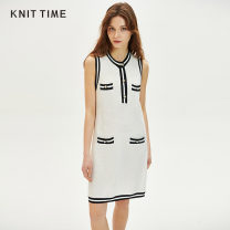 Dress Spring 2020 white S M L Mid length dress singleton  Sleeveless commute Crew neck low-waisted Single breasted 25-29 years old Knit time Retro Button KTF20X918 30% and below nylon Viscose (viscose) 76% polyamide (nylon) 24%