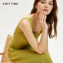 Dress Spring 2020 Average size Mid length dress singleton  commute Crew neck Solid color Socket camisole 25-29 years old Knit time Simplicity KTF20X628 30% and below polyester fiber Viscose (viscose) 50% polyester 28% polyamide 22%