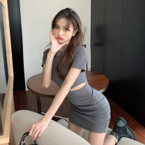 Dress Summer 2020 Grey black S M L Short skirt singleton  Short sleeve commute Crew neck High waist Solid color Socket A-line skirt routine Others 18-24 years old Type A Dianyu Korean version More than 95% other other Other 100% Pure e-commerce (online only)