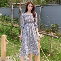 Dress Summer 2021 Broken flowers of brandy S,M,L,XL Mid length dress singleton  elbow sleeve commute square neck Elastic waist Decor Socket other Princess sleeve Others 18-24 years old Type A Korean version Stitching, lace 81% (inclusive) - 90% (inclusive) Chiffon other