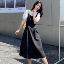 Dress Summer 2021 black and white S,M,L,XL,2XL longuette singleton  Short sleeve commute square neck High waist Solid color other A-line skirt routine camisole 18-24 years old Type A Korean version 81% (inclusive) - 90% (inclusive) other polyester fiber