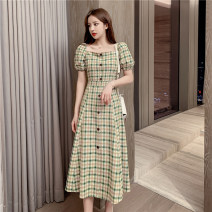 Dress Summer 2020 Green, yellow S,M,L,XL Mid length dress singleton  Short sleeve commute square neck High waist lattice Single breasted A-line skirt puff sleeve Others Type X Other / other Korean version Button, zipper