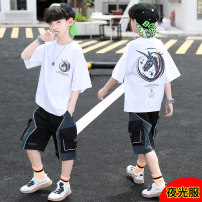 suit Bad little treasure Black, white, blue 120cm,130cm,140cm,150cm,160cm,170cm male summer leisure time Short sleeve + pants 2 pieces routine There are models in the real shooting Socket nothing other children Expression of love B0231 other Other 100%