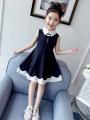 Dress black female Bad little treasure 110cm,120cm,130cm,140cm,150cm,160cm Cotton 100% summer Korean version Strapless skirt Broken flowers cotton A-line skirt Class B 2, 3, 4, 5, 6, 7, 8, 9, 10 years old