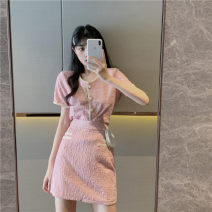 Women's large Summer 2021 S M L XL Dress Two piece set commute Short sleeve Solid color Korean version have cash less than that is registered in the accounts routine Belles of ladybro 18-24 years old Short skirt Other 100% Pure e-commerce (online only)