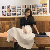 Women's large Summer 2021 suit S M L XL 2XL Dress Two piece set commute Short sleeve Solid color Korean version V-neck Belles of ladybro 18-24 years old longuette Other 100% Pure e-commerce (online only)