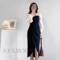 Dress Autumn 2020 Black Khaki S M L XL Mid length dress singleton  Long sleeves commute square neck High waist Solid color Socket One pace skirt routine 25-29 years old Type A Pleated asymmetric button More than 95% other Other 100% Pure e-commerce (online only)