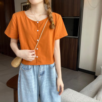 T-shirt Orange, light gray, rose, white, Navy, black, denim S,M,L Summer 2021 Short sleeve Crew neck have cash less than that is registered in the accounts commute cotton 51% (inclusive) - 70% (inclusive) 18-24 years old Korean version Solid color MY