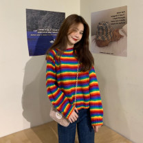Wool knitwear Winter 2020 S,M,L Picture color Long sleeves singleton  Socket other 81% (inclusive) - 90% (inclusive) Regular thick commute easy Low crew neck routine stripe Socket Korean version YY 18-24 years old