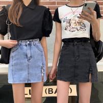 skirt Summer 2021 S,M,L,XL Blue, black Short skirt commute High waist A-line skirt Solid color Type A 18-24 years old MY 51% (inclusive) - 70% (inclusive) Denim Korean version