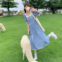 Dress Summer 2021 Orange, blue, black S,M,L Mid length dress singleton  Short sleeve commute square neck High waist Solid color Socket other other 18-24 years old Korean version MY 51% (inclusive) - 70% (inclusive) other cotton