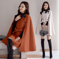 woolen coat Autumn 2020 S,M,L,XL,2XL Beige, Caramel wool 95% and above Medium length Long sleeves commute Frenulum routine tailored collar Solid color Cape type Korean version 220d6979 with belt 25-29 years old Button Solid color polyester fiber Tweed